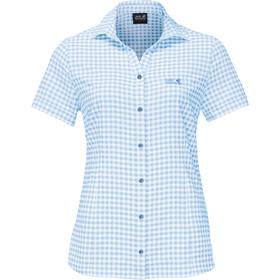 Jack Wolfskin Kepler Shirt Korte Mouwen Dames, blauw/wit
